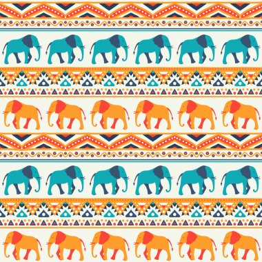 Animal seamless pattern of elephant
