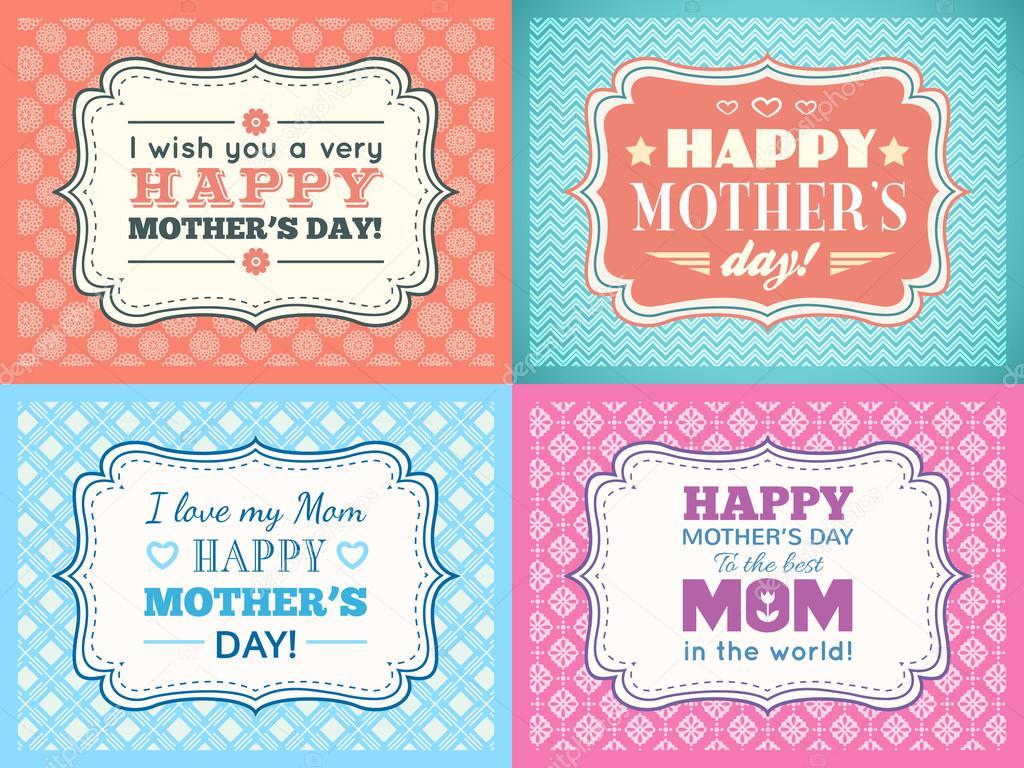 Set Feliz Tarjeta Del Día De Las Madres Tipo De Letra De