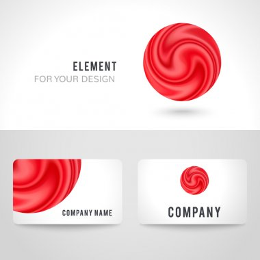 Business card template set, abstract red circle background. illustration