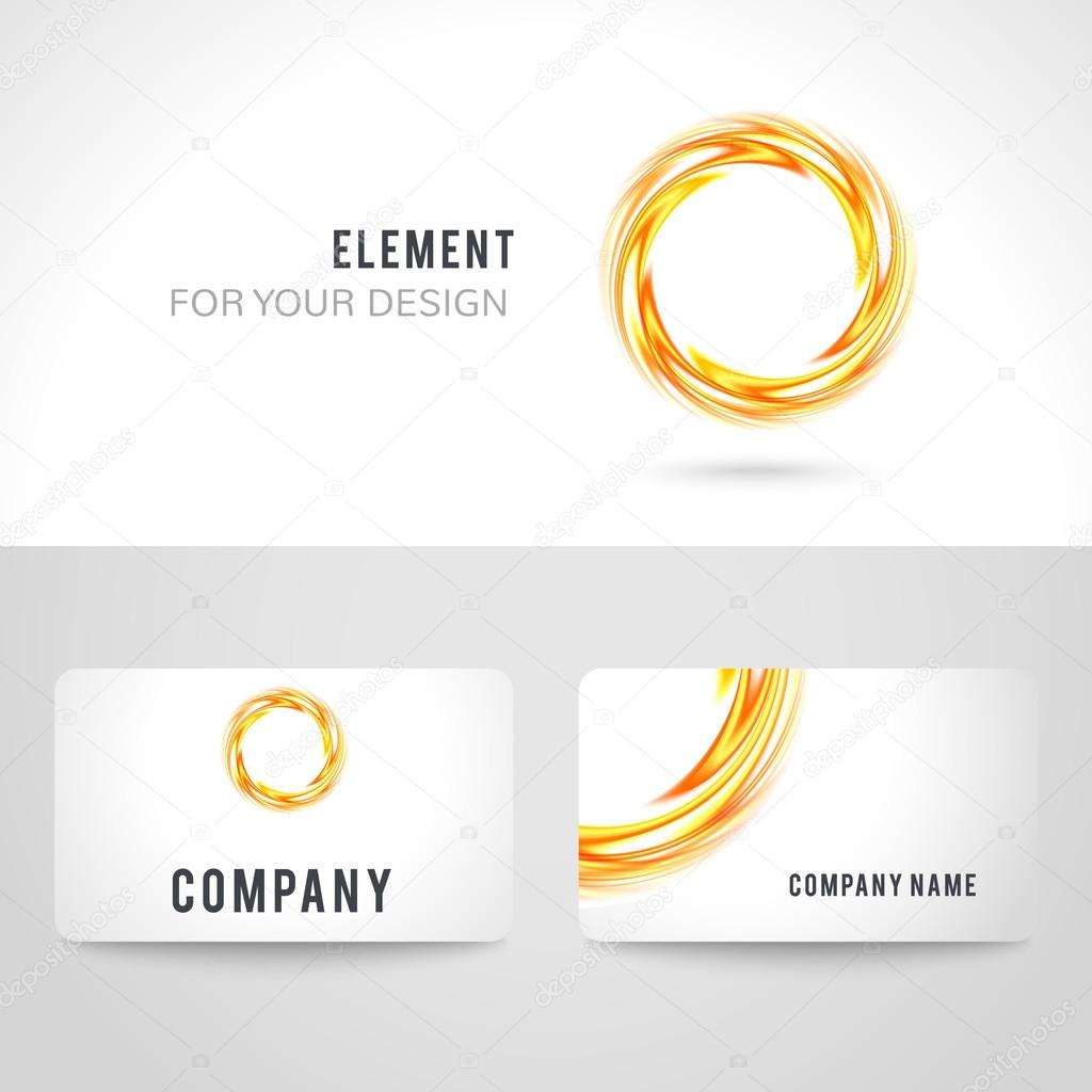 Business card template set abstract orange circle background business card template set abstract orange circle on white background illustration for modern design corporate identity for the company cool logo reheart Choice Image