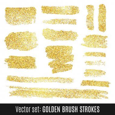 Set of golden watercolor brush stroke isolated on white background