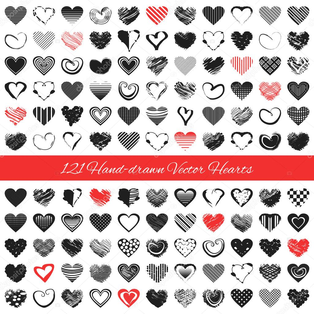 Hand drawn romantic hearts vector illustration stock vector vector illustration for cute design pretty symbol for valentines day card and invitation set of scrapbooking elements red black colors isolated on white biocorpaavc Choice Image