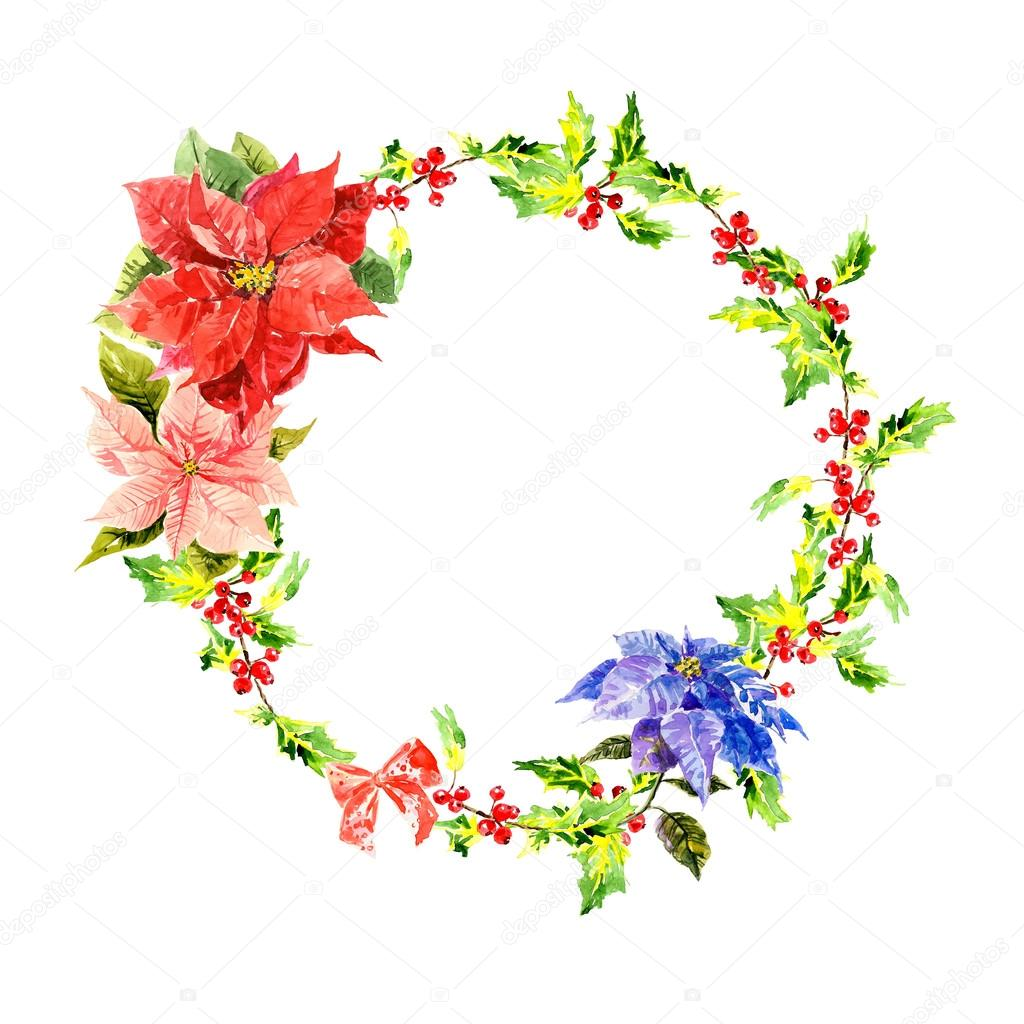 Watercolor wreath with flowers and foliage