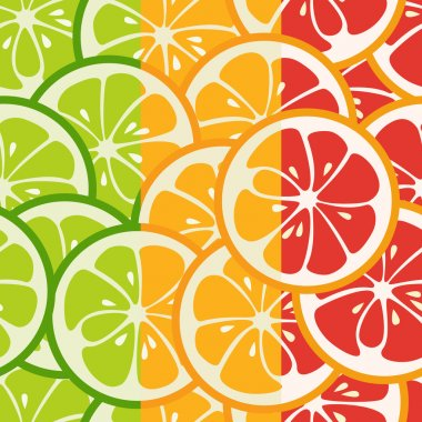 Striped seamless pattern with lime, orange and grapefruit