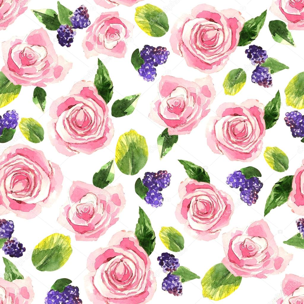 Pattern with tender pink roses, bluberries and green leaves