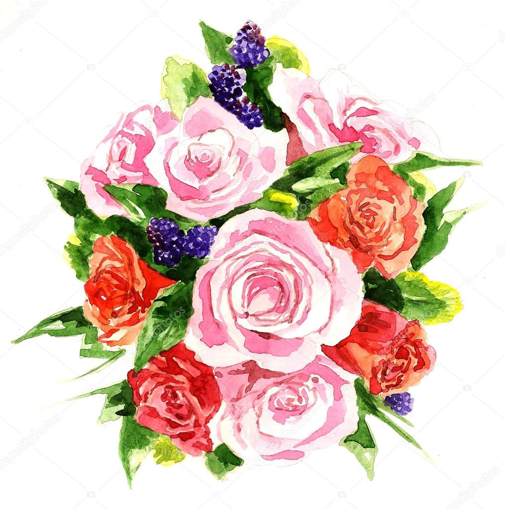 Large watercolor bouquet of peony, roses and violets