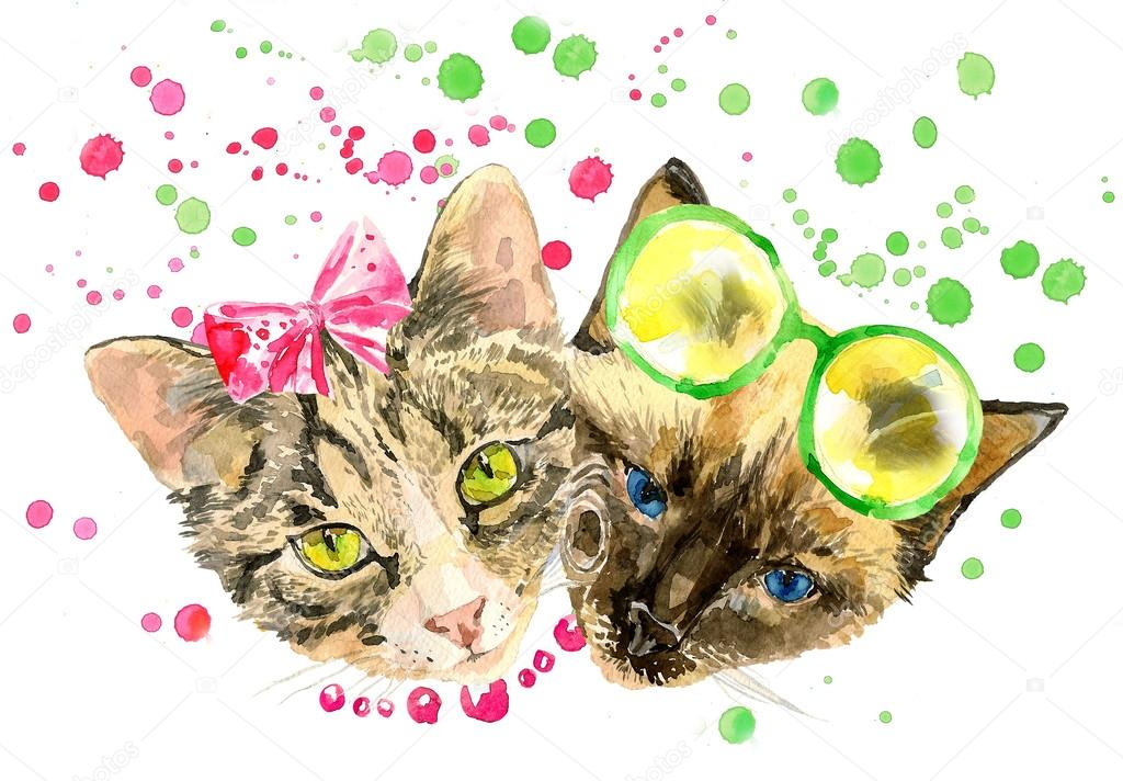 Fashionable watercolor cats isolated on white background