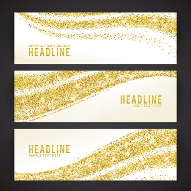 Set of banners with golden confetti theme. Vector