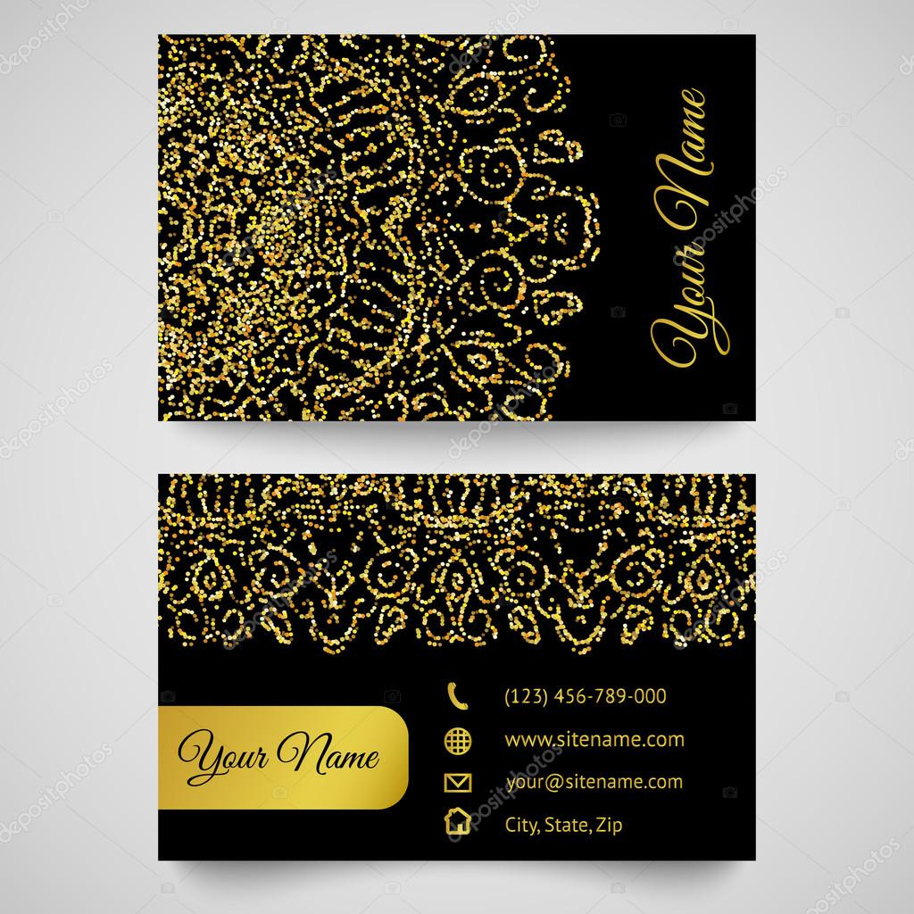Business card template, golden pattern on black background — Stock ...