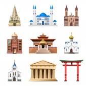 Fotografie Cathedrals, churches and mosques building vector set