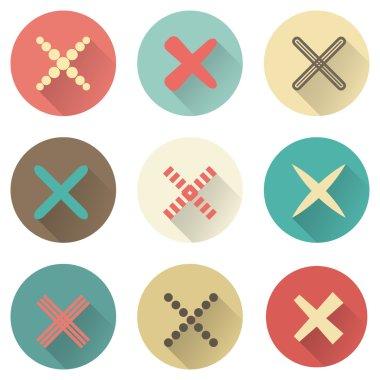 Set of different retro crosses and tics.