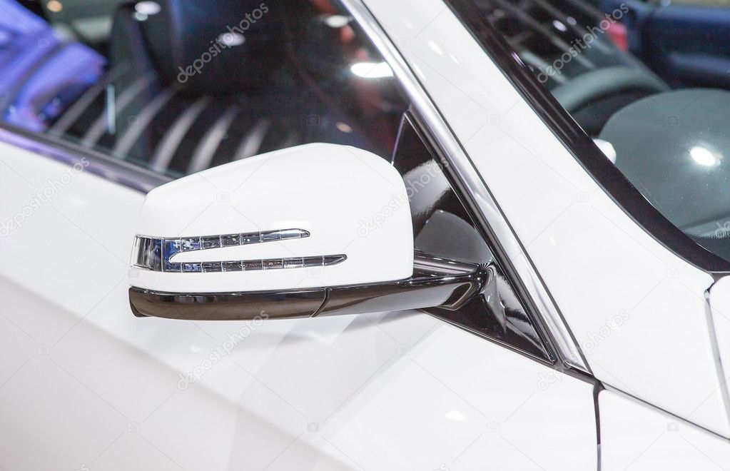 Wing Mirror Of White Benz Series E Coupe Stock Editorial - Car show display mirrors