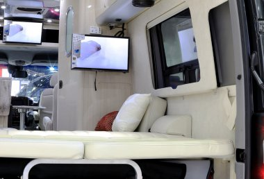 uxury interior decoration in Mercedes Benz mobile home car