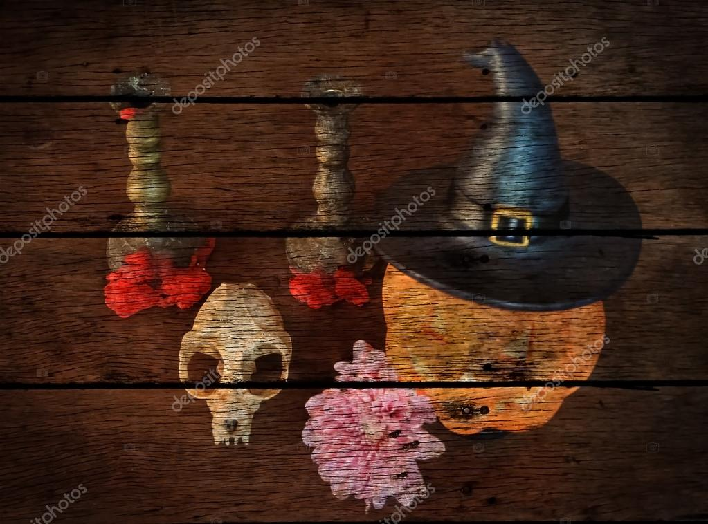halloween concept paint on old panel wooden background