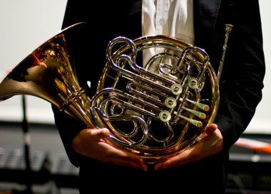 French horn in the concert hall. Wind instrument. French horn. Horn. Concert of classical music. Large Symphony Orchestra