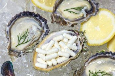 Zinc capsule supplementary  food oyster seafood lemon