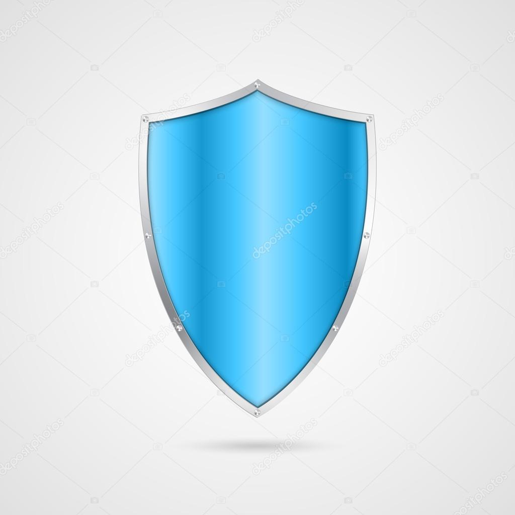 Blue shield icon. Vector illustration.