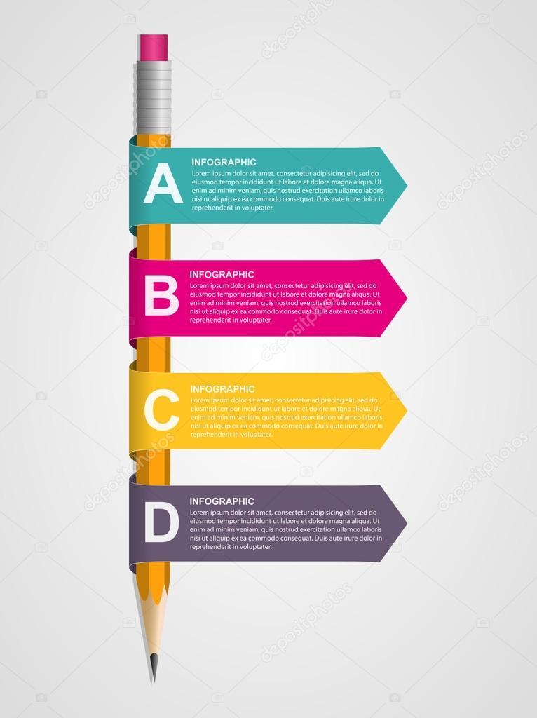 Creative Education Infographics Template With Pencil And Ribbons