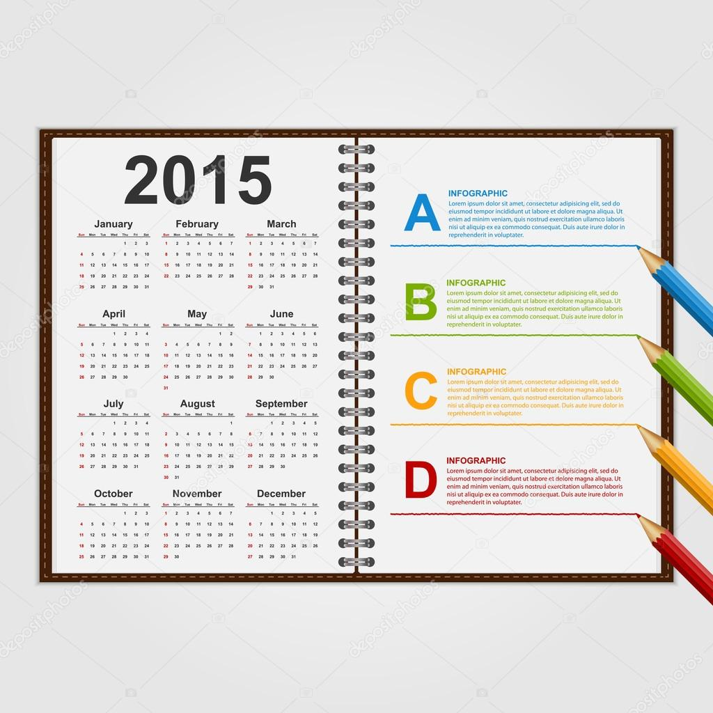 Infographics design template. Open notebook with calendar and ...