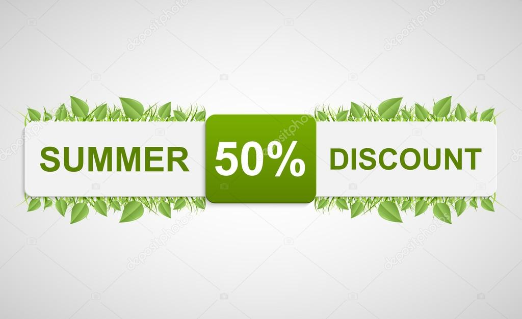 Nature discounted tag. Beautiful illustration of a paper label with green leaves.