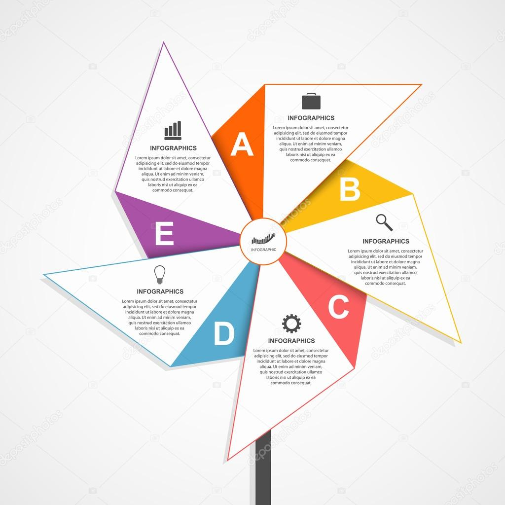 Flat infographics design template in the shape of air pinwheel ...