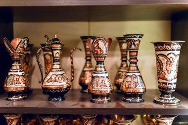 Turkish Traditional  ceramics in the Grand Bazaar in Istanbul, Turkey