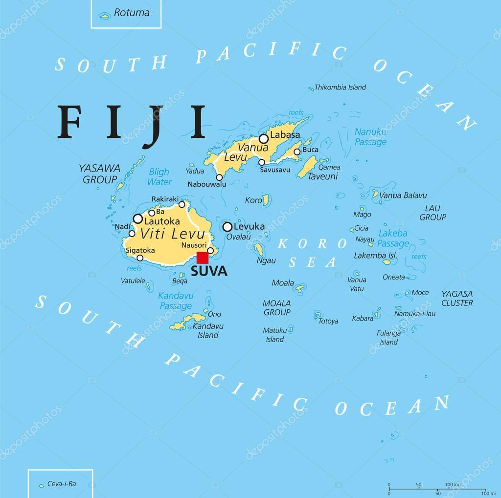 fiji karta Fiji politiska karta — Stock Vektor © Furian #113532902 fiji karta