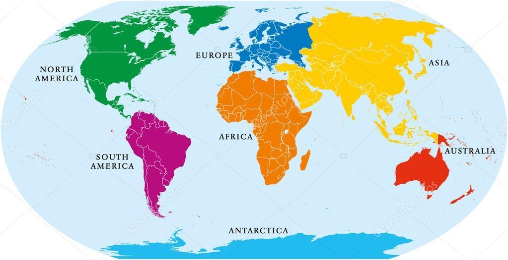 mapa mundo 7 Mapa de 7 continentes del mundo — Archivo Imágenes Vectoriales  mapa mundo 7