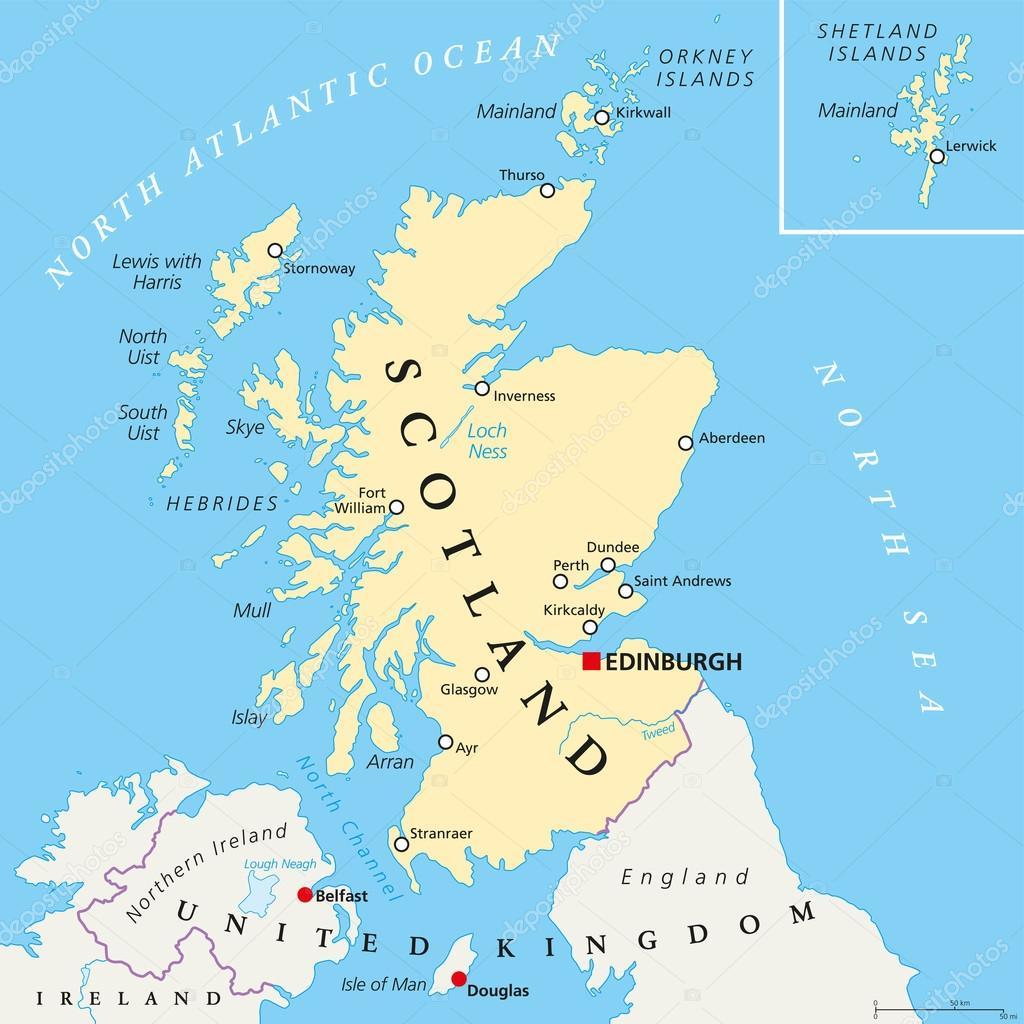 mapa da escocia Mapa político independente da Escócia — Vetores de Stock © Furian  mapa da escocia