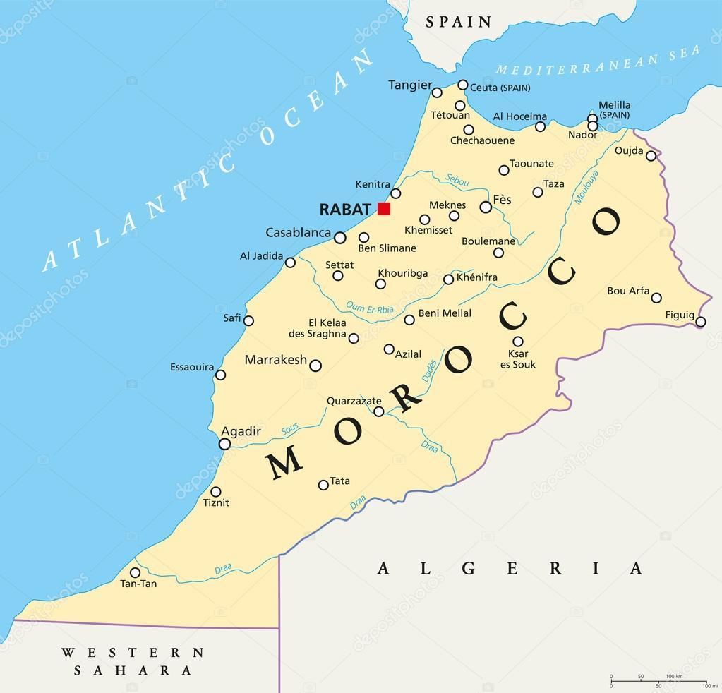 Morocco Political Map Stock Vector Furian 115318132