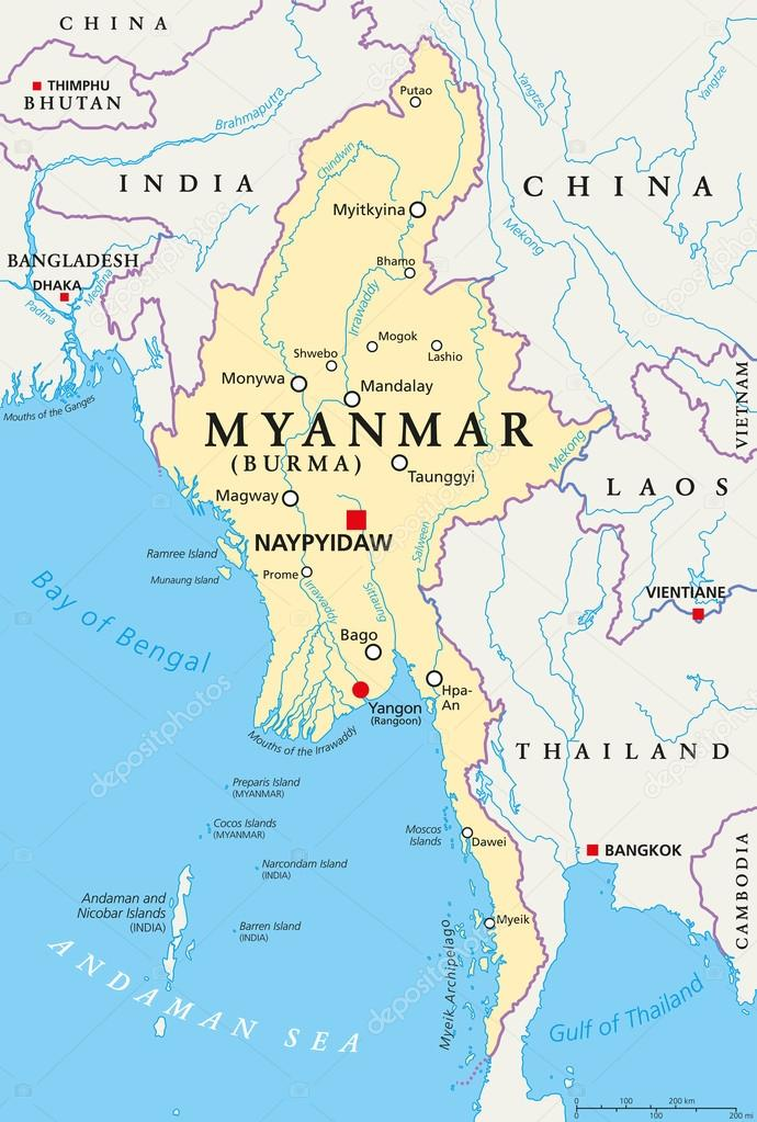 Myanmar Burma Political Map Stock Vector C Furian 115990850
