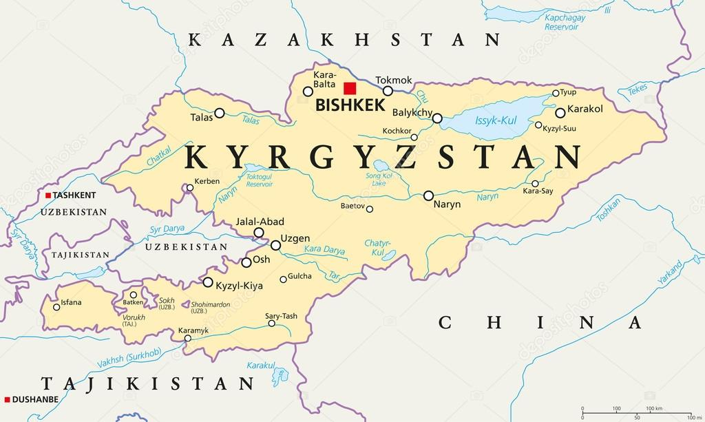 Kyrgyzstan Political Map Stock Vector Furian 116594108
