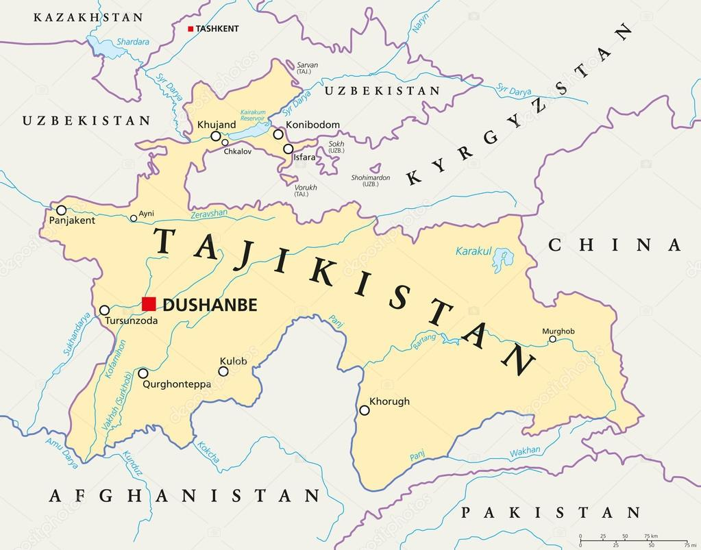 tajikistan political map images