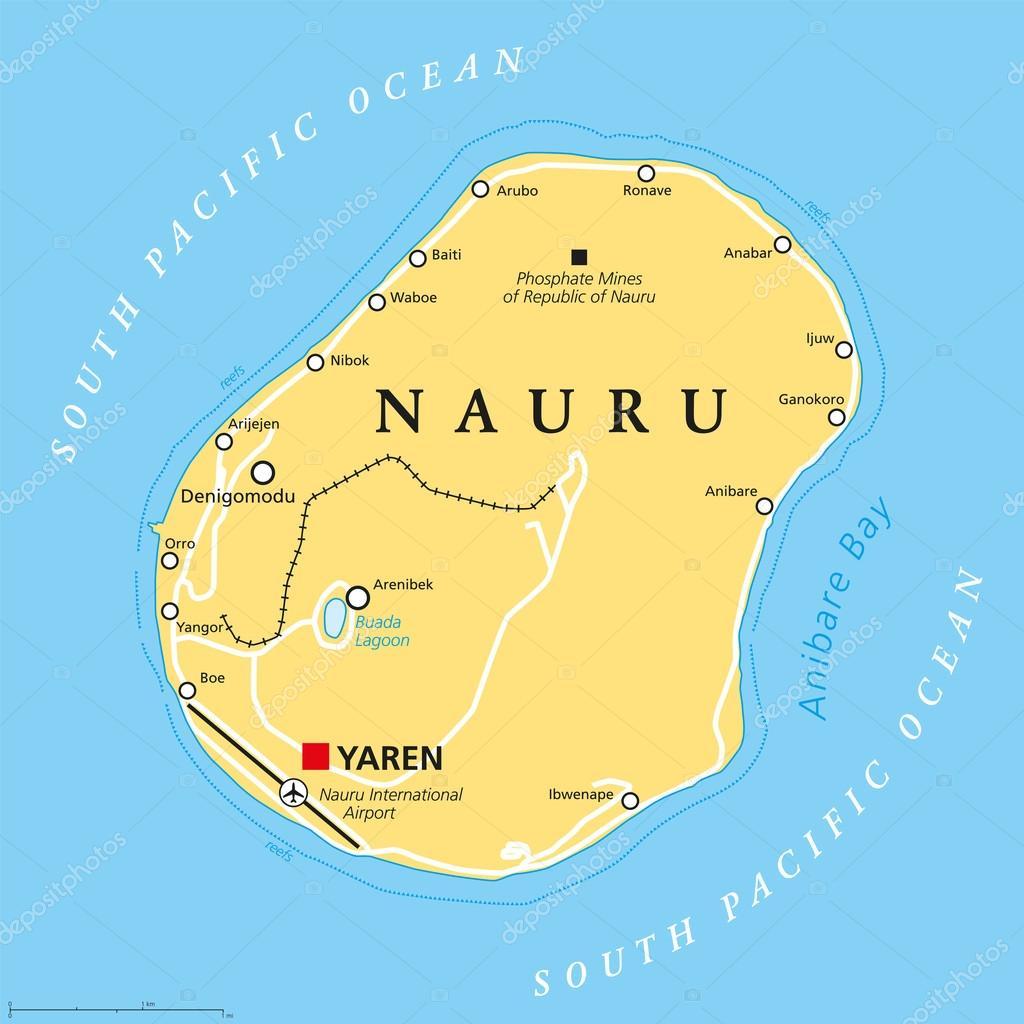 Nauru Political Map Stock Vector Furian - Nauru map vector