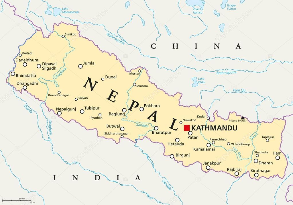 ネパールの政治地図 — ストック...