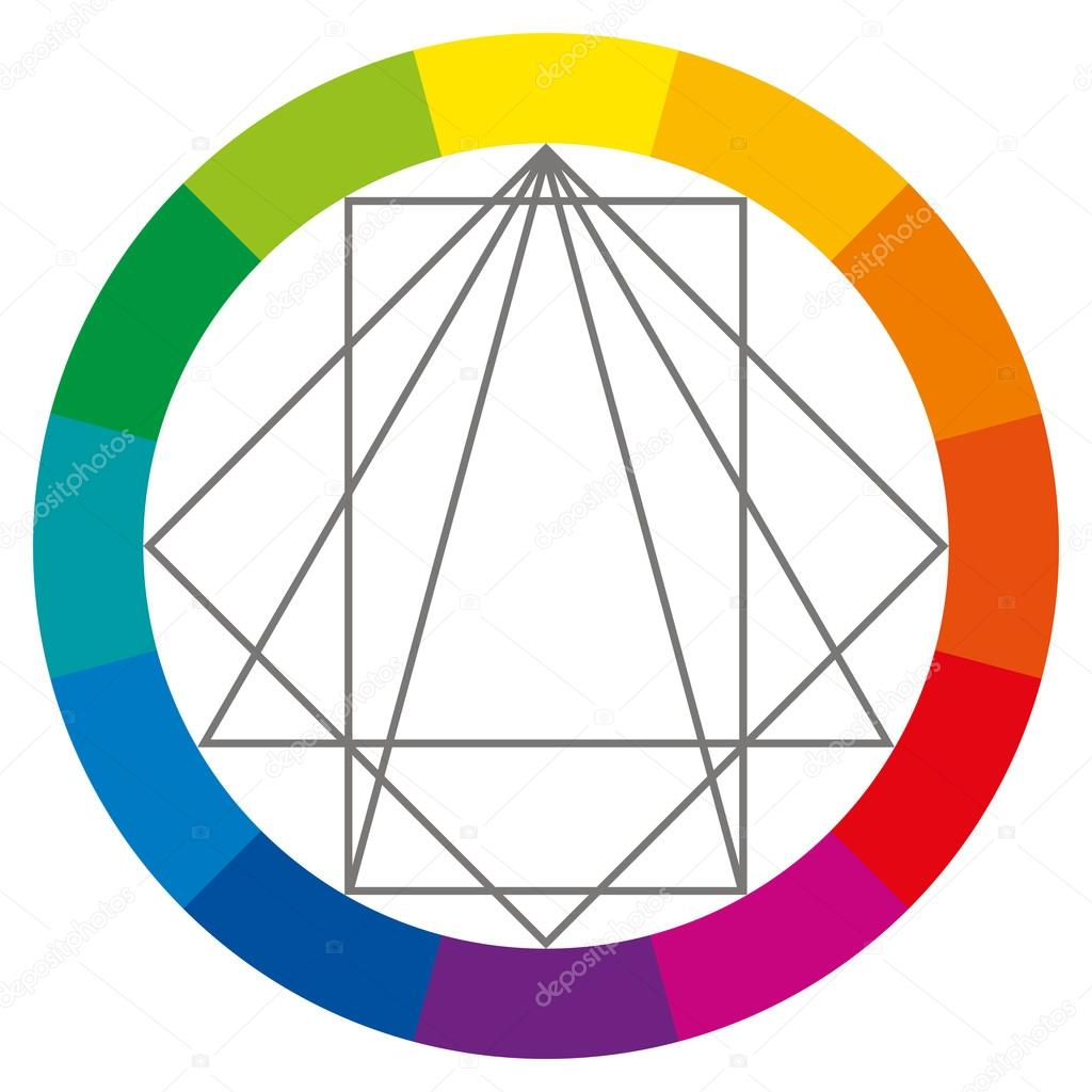Color Wheel Showing Complementary Colors That Are Used In Art And Paintings Square Rectangle Two Triangles Can Be Turned Around To Show Possible