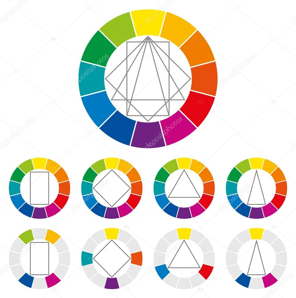 Color Wheel With Four Different Geometric Forms That Can Be Turned Around In The Circle To Show Many Possible Harmonic Combinations Of Colors Art And For