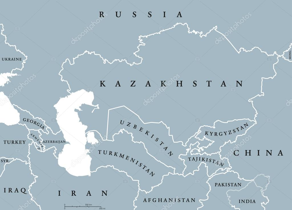 Caucasus And Central Asia Countries Political Map Stock Vector - Central asia political map