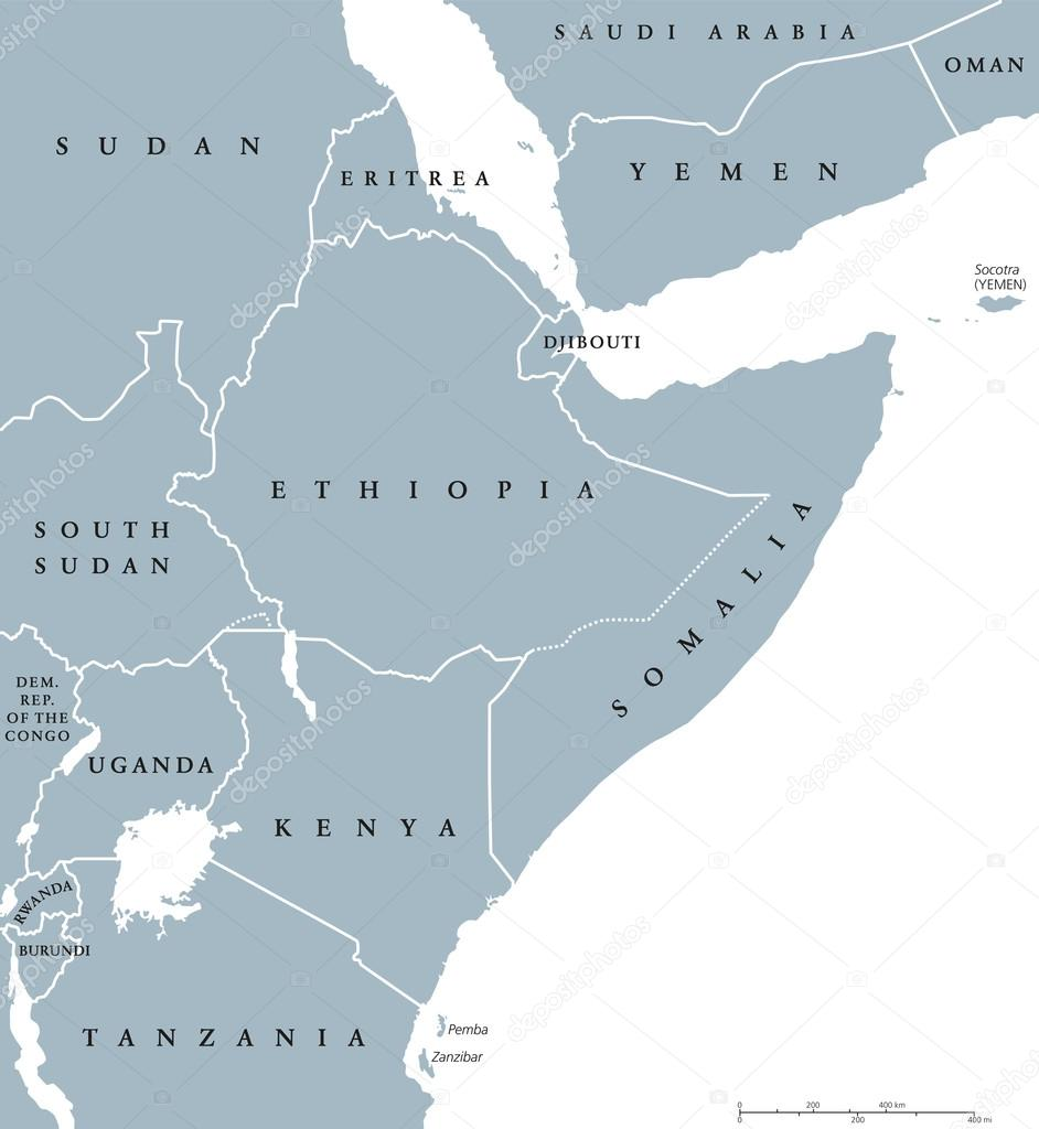 Cuerno De Africa Mapa.Cuerno De Mapa Politico De Africa Paises Vector De Stock