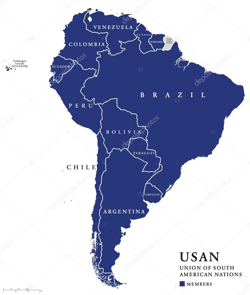USAN, Union of South American Nations map — Stock Vector ...