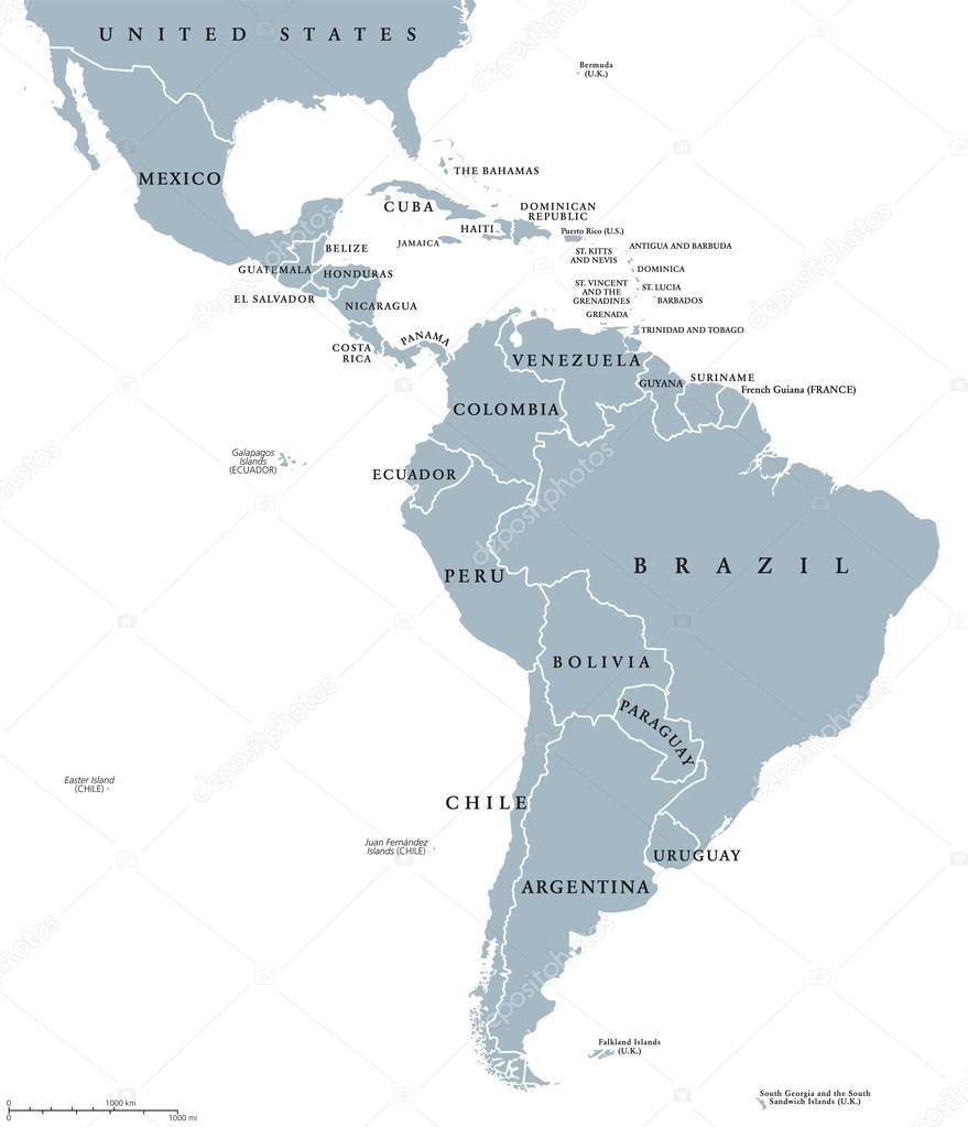 Latin America Countries Political Map Stock Vector Furian - Dominica political map