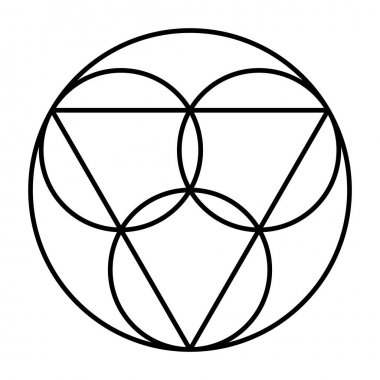 Trinity symbol. Three circles, representing the coeternal and consubstantial persons Father, the Son Jesus Christ and the Holy Spirit, connected with an equilateral triangle, embedded in a big circle.