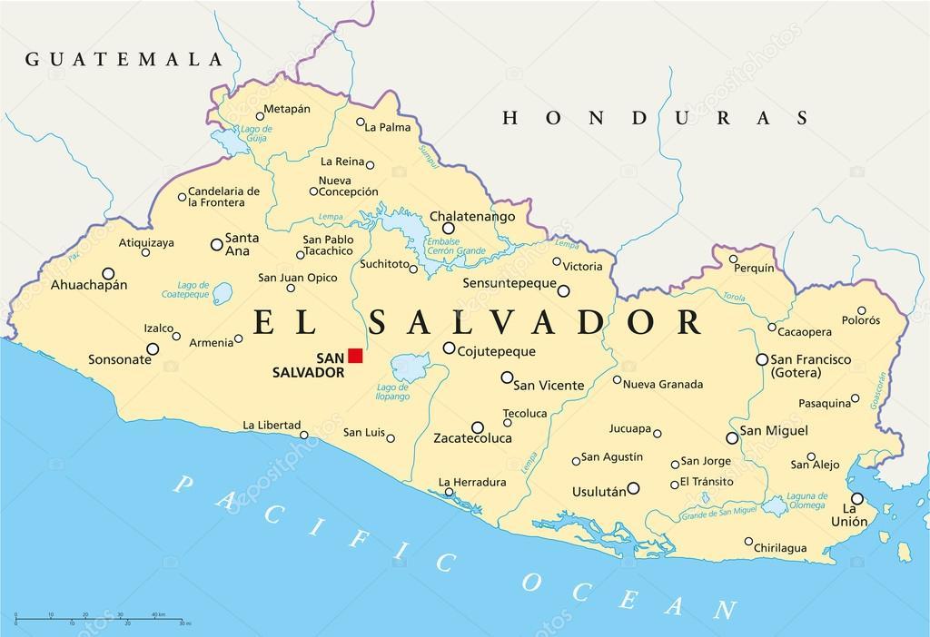 El Salvador Political Map Stock Vector Furian - Political map el salvador