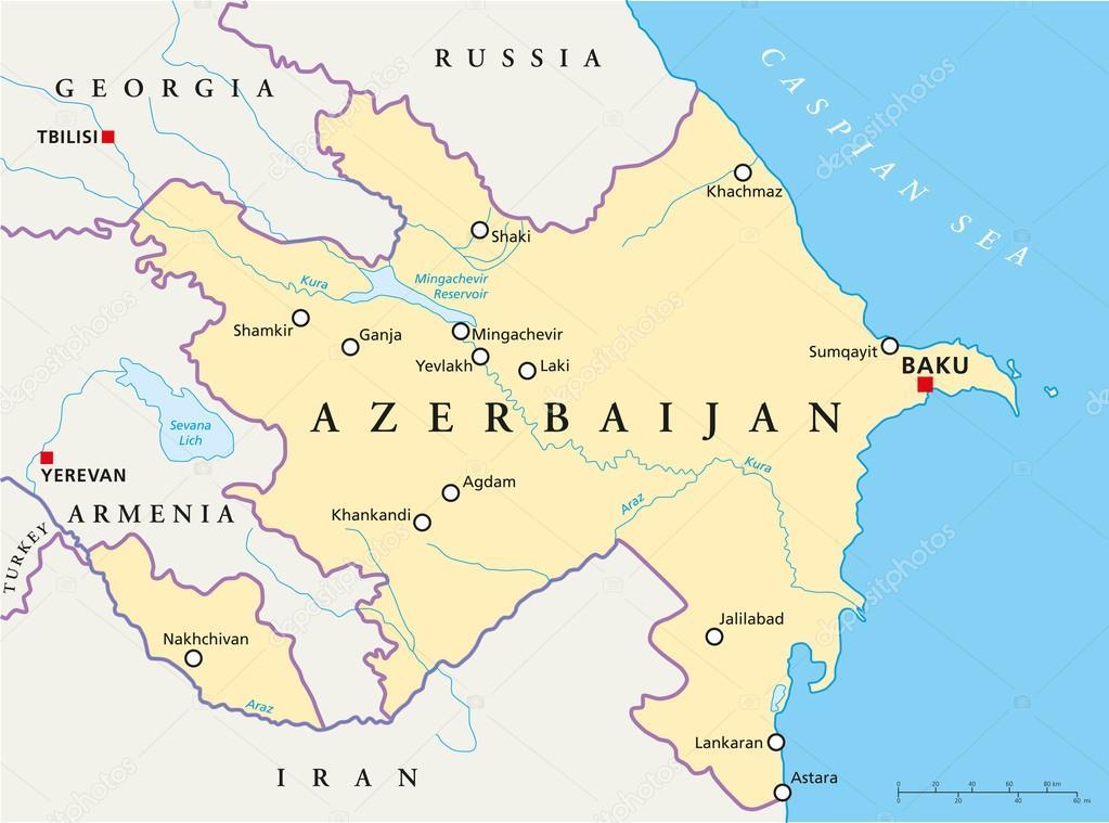 Baku Aserbaidschan Karte.Politische Karte Von Aserbaidschan Stockvektor C Furian