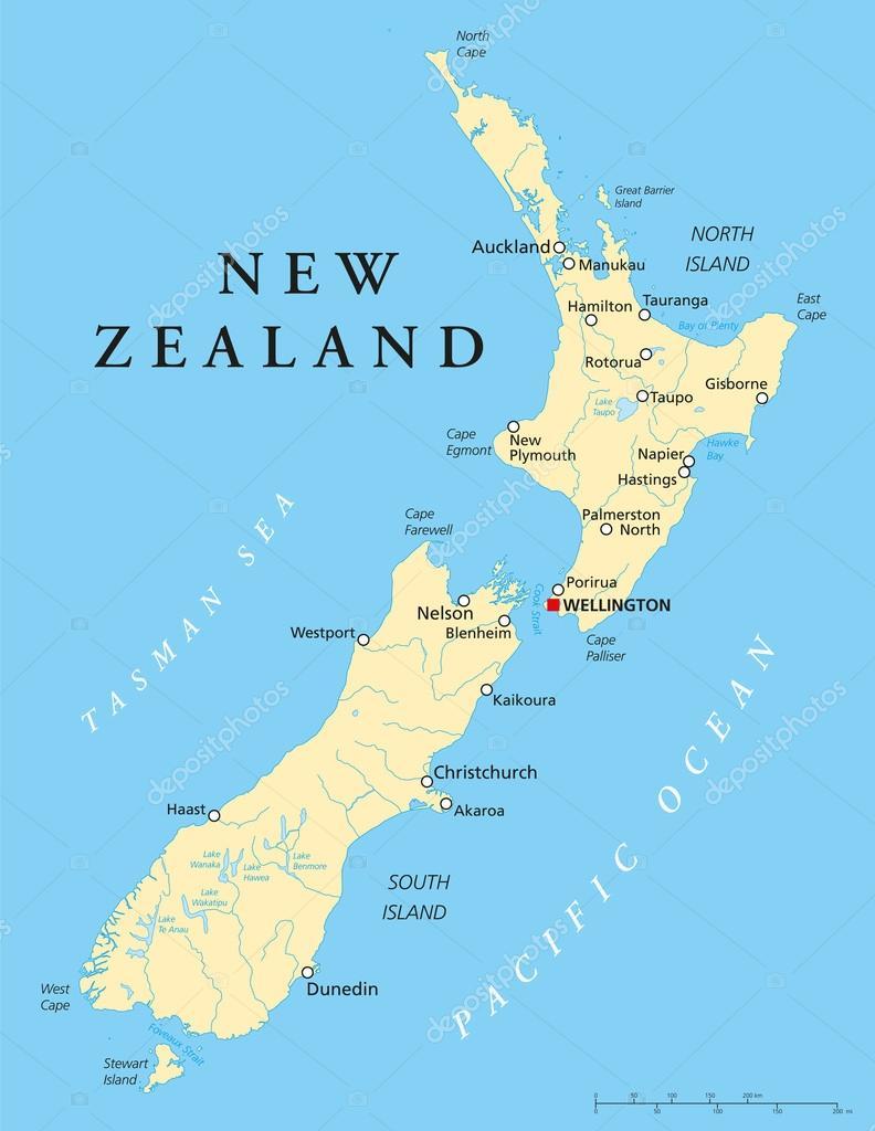 New Zealand Political Map — Stock Vector © Furian #53031259