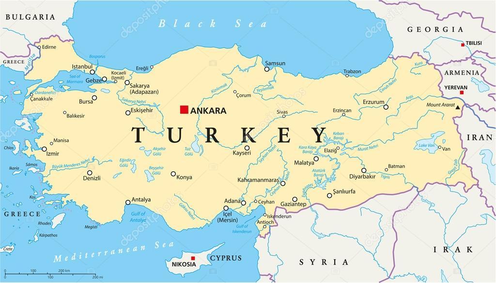 karta cypern turkiet Turkiet politiska karta — Stock Vektor © Furian #53816051 karta cypern turkiet