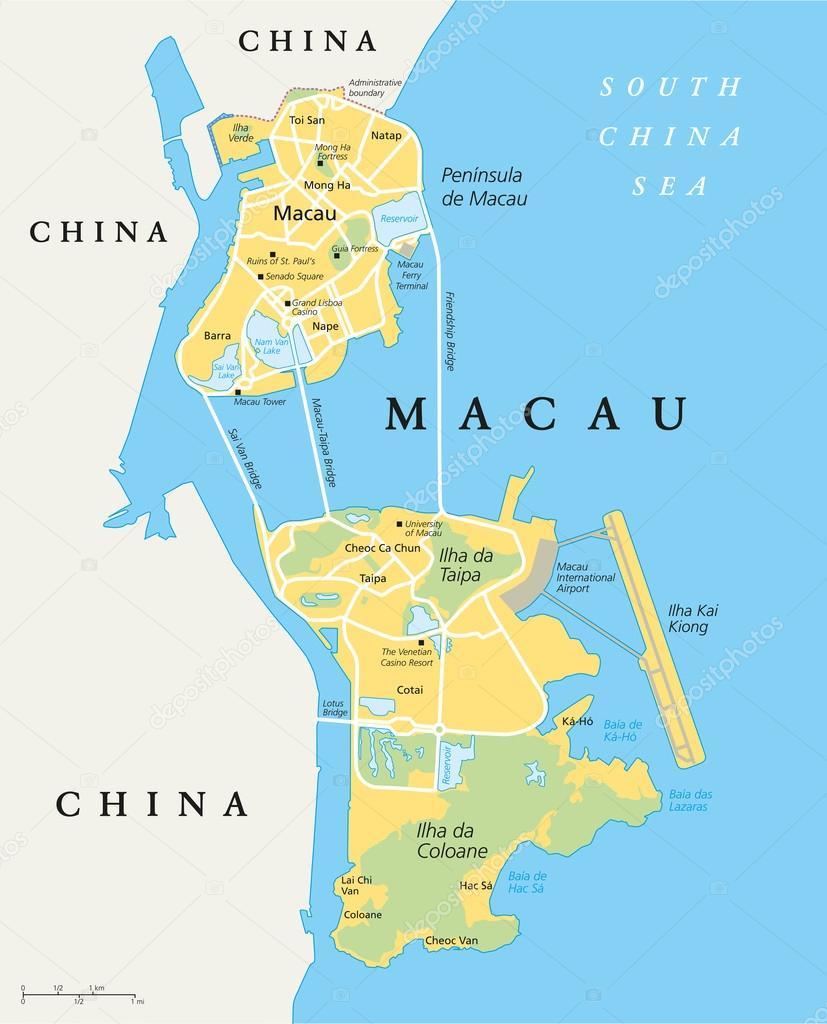 Macau Political Map Stock Vector Furian - China political map in english