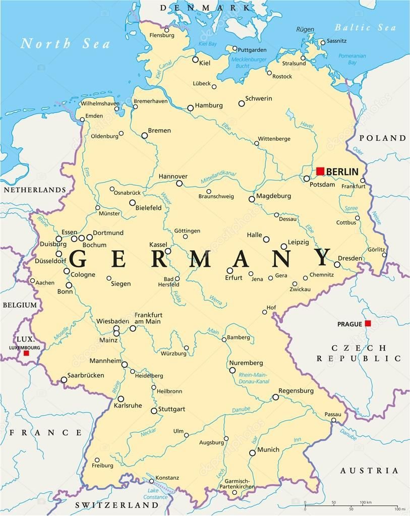 Germany Political Map Stock Vector Furian - Germany map download