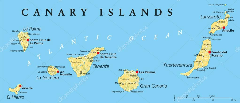 karta på kanarieöarna Kanarieöarna politiska karta — Stock Vektor © Furian #55322101 karta på kanarieöarna