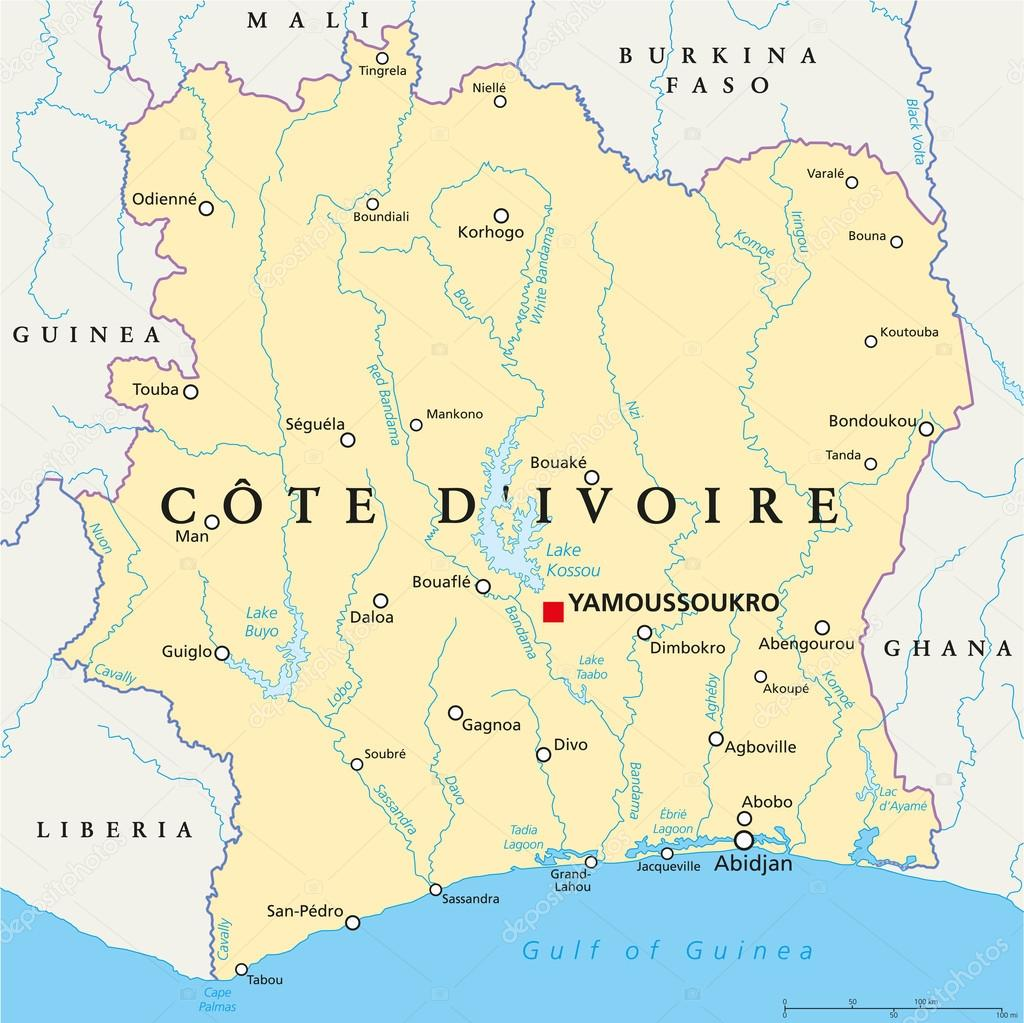 Ivory Coast Political Map - Cote d\'Ivoire — Stock Vector © Furian ...